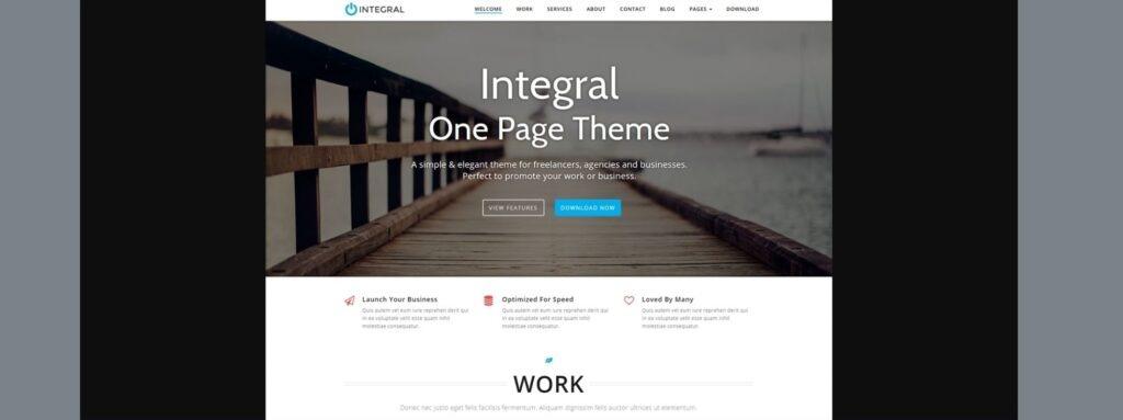 Integral WordPress parallax Theme